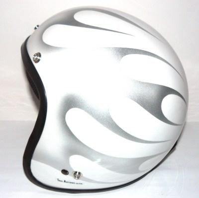 Casco jet Star white flames