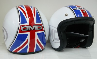 Casco jet DMD Union Jack white homologado