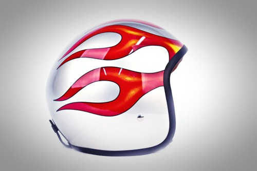 Casco jet Red Bike flames
